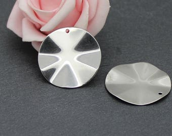 4 charms wavy disc AC25 27 mm stainless steel