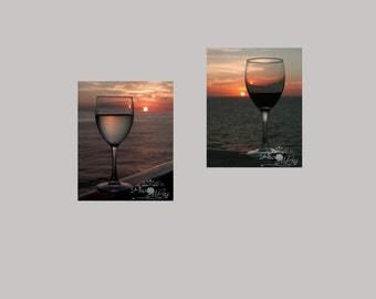 Fine Art Photograph, Wine Duo in Sunset, Red and White, Two Photographs, 10.00 Off when you buy two