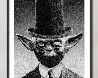 Yoda print, Star wars art, Yoda portrait poster, black ink drawing,  Giclee Fine Art Poster Print