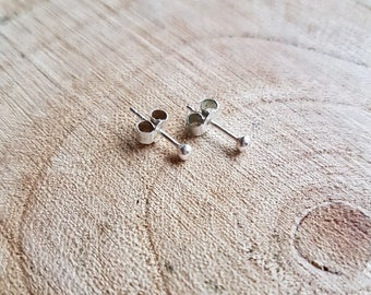 Tiny Round Hammered Silver Studs