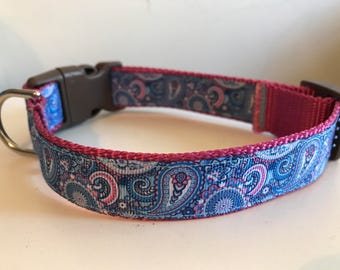 Pink and Blue Paisley Print 1 inch Large Dog Collar on Pink Nylon