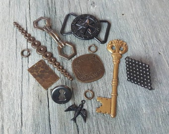 Vintaj Mixed Metals {Steampunk Sampler Pack - Charms, Pendants, Connectors, Decorivets, Embellishments Mixed Lot - 12 Pcs
