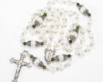 Green Tourmaline Pearl Heirloom Rosary - Handmade Rosaries Gift for Catholic Women - Freshwater Pearls, Sterling Silver, Miraculous Medal
