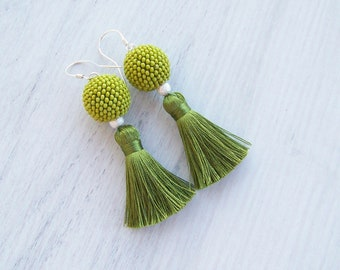 Moss Green Silk Tassel earrings - Short Tassle Statement Earrings - Dangle moss green earrings - Fringe earrings - beadwork green earrings