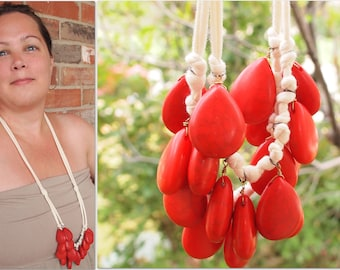 coral and cream bib necklace