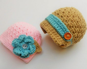 Boy Girl Twins Outfit,Boy Girl Twins Set,Hats for Twins,Outfit for Newborn Twins,Boy Girl Newborn Twin Hats,Twins Photo Props, Choose colour