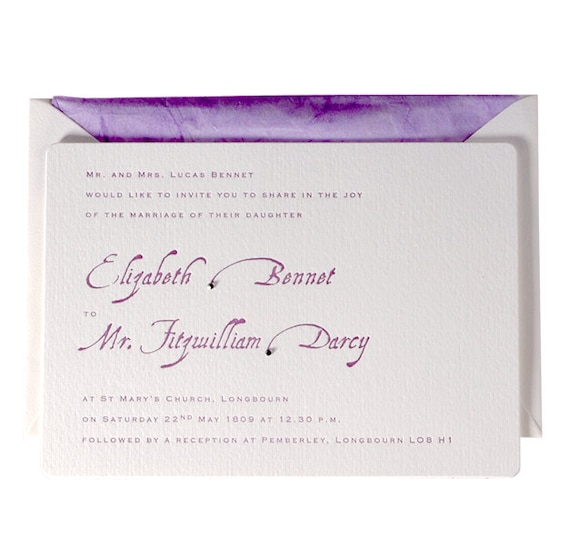 Matchy Matchy Letterpress Invite And Handmade Envelope: Purple Letterpress Wedding Invitation With Swarovski Crystals