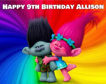 """TROLLS Edible Frosting Icing Sheet Cake Topper Image Customized Personalized Birthday Party 1/4, 8"""" Round, 12 Cupcakes"""