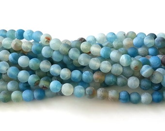 Blue frosted agate 6mm beads - agate beads - round beads - gemstone beads