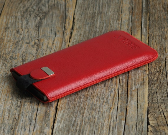 Monogrammed Personalized Motorola Moto X Play Red Cover Case With Magnetic Flap. Genuine Leather Sleeve Pouch