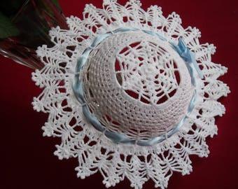 small decorative white cotton crochet Hat
