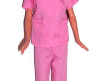 Bright Pink Two Pocket Scrub Set for Fashion Dolls