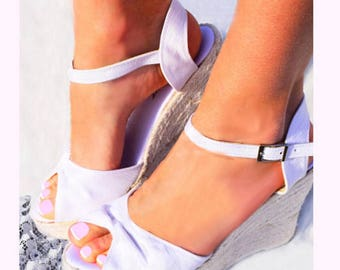 TIFFANY Satin Bridal Peep Toe Ankle Strap Platform Wedge Espadrilles Wedding