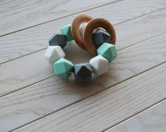 BPA Free Sensory Toy, Wooden Teethers, Wooden Rattle, Silicone Teether, Silicone Rattle Double Ring, Teether,