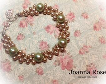 Wedding ~ Bridesmaid ~ Jewelry ~ Woven Bead Bracelet ~ Wood Pearl Gold Vintage Beads ~ Handmade ~ Customizable ~ SOLD
