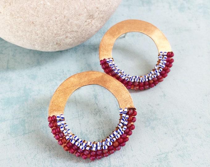 Open circle copper earrings - tribal earrings - big stud earrings - beaded copper earrings - geometric copper earrings - statement earrings