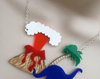 laser cut acrylic/birch wood 'volcano / dinosaur' statement necklace