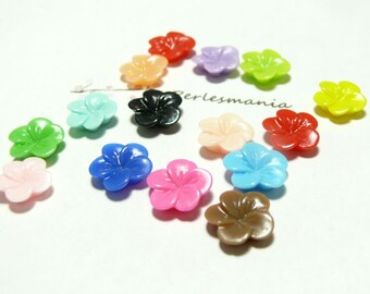 10 flower cabochons resin ref B941 mulit color flower