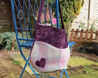 Purple and Pink Brief Encounter Bag, wool tweed, shoulder bag, handmade, unique, appliqued, Charlie's Aunt