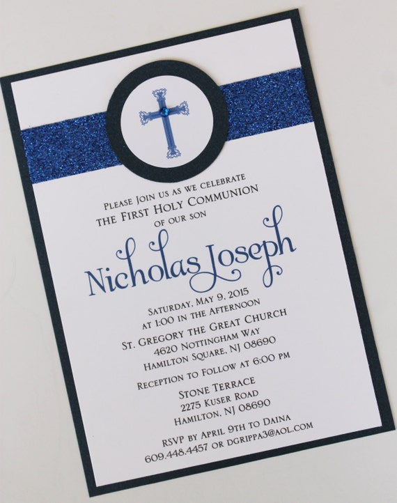 boy navy blue baptism communion invitation with band and