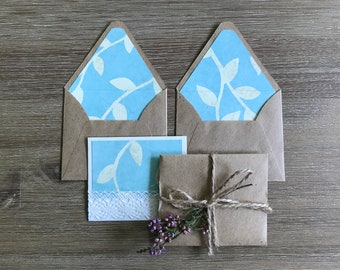 Mini envelopes - set of 4 small tiny envelopes - note card thanks card - hostess gift idea letter writing paper - light blue white rustic
