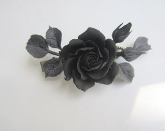 Black rose hair clip Black flower Gothic jewelry Halloween hair piece  Elegant hair clip barette Bohemian hair jewelry Black leaves