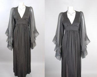 vintage 1970s polka dot maxi dress | 1970s sheer maxi dress | vintage 70s dress