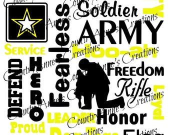 SVG PNG DXF Eps Ai Wpc Cut file for Silhouette, Cricut, Pazzles  - Army Subway Art svg