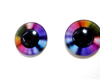16mm Rainbow Disk Glass Eye Cabochons - Bright Eyes for Doll or Jewelry Making - Set of 2
