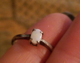 Vintage White Fire Opal Sterling Silver Ring, Size 7