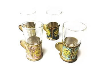 Vintage mid century set of 4 shot glasses with Florentine style holders, made in Italy