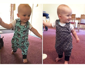 JUMPY Reversible Harem Romper pattern Pdf Baby Children Boy Girl,  JERSEY WOVEN, toddler newborn up to 6 yrs Instant Download
