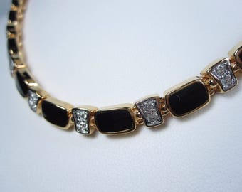 """Nina Ricci Gold Plated Necklace and Earrings Swarovski Crystals and Enamel 15 16"""" 0874"""