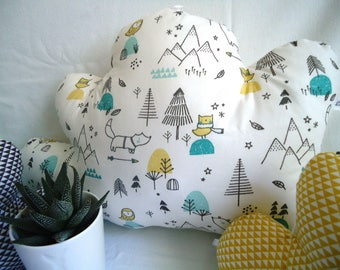 """Round bed """"clouds"""" baby collection """"Mountain"""" gray, mustard, mint and teal crib 60 x 120 cm - birth gift"""