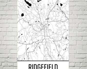 Ridgefield Map, Ridgefield Art, Ridgefield Print, Ridgefield CT Poster, Ridgefield Wall Art, Ridgefield Gift, Map of Connecticut, CT Decor
