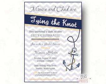 Printable Nautical Bridal Shower Invite // Tying the Knot Invitation // Nautical Bridal Shower Invitation // Nautical Shower Invitation