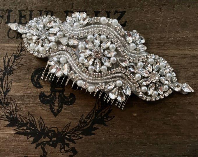 Silver Wedding Haircomb, Bridal Headpiece, Rhinestone Hairpiece, Hair Tiara, Hair Jewelry, Bridesmaid, Hair Accessory 05S