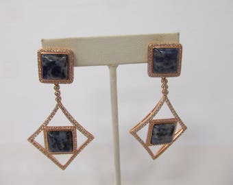 Sterling Silver Geometric Sodalite Earrings W #157
