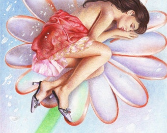 Sweet Dreams print from an original color pencil drawing by Irene Owens