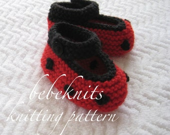 Bebeknits Ladybug Baby Booties Knitting Pattern in 4 Sizes