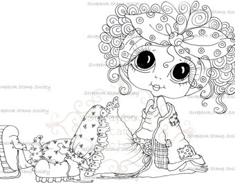 INSTANT DOWNLOAD Digital Digi Stamps Big Eye Big Head Dolls Digi  My Besties IMG699 By Sherri Baldy
