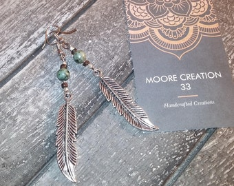 "african ""turquoise"" jasper earrings, boho earrings, feather earrings,"
