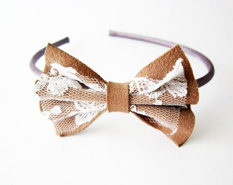 Cute bow headband, lace head band, leather bow headband, brown bow hair fascinator, hair bow fascinator, bridesmaids hair bow headband bow