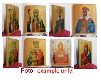 "Patron Saint Icons in order, 9.6""x12.6""x0.8"" (24x32x2 см) of hot colors directly on solid wood"
