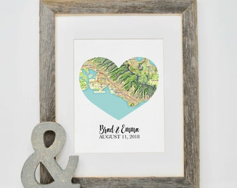 Gift for Bride, Bridal Shower Gift, Custom Map Print, Unique Gift for Couple, Gift for Newlyweds, Heart Map Print, Groom Gift from Bride