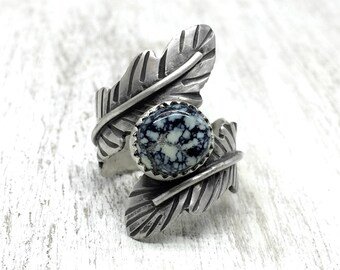 Sterling Silver Feather Ring, Feather Ring Sterling Silver, Feather Ring with Stones, Poseidon Ring Size 7.5, Silver feather Ring