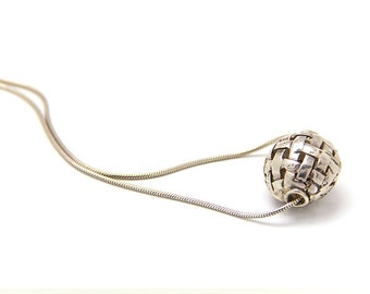 Silver ball necklace - sterling silver pendant necklace - sterling silver necklace - silver jewelry - gift for her