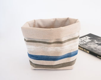 Stripes Fabric Basket | Storage Basket | Handmade Fabric Organiser