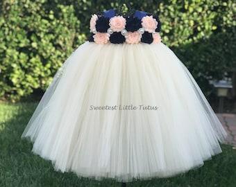Navy Blue and Pale Peach Flower Girl Tutu Dress/ Navy Blue Peach Flower Girl Dress/ Navy Blue Flower Girl Dress/ Peach Flower Girl Dress