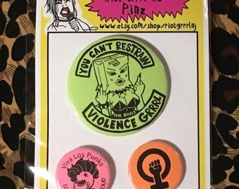 Riot Grrrl NJ pinz set Violence Girl edition